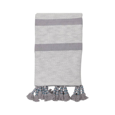 Handwoven Dixie Stripe Gray Throw
