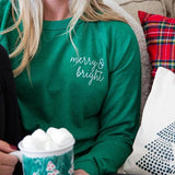 Green Embroidered Merry & Bright Crewneck  (AVAILABLE: sm, 2x )