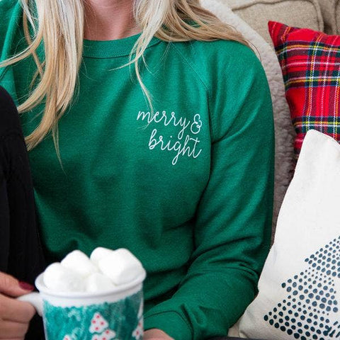 Green Embroidered Merry & Bright Crewneck