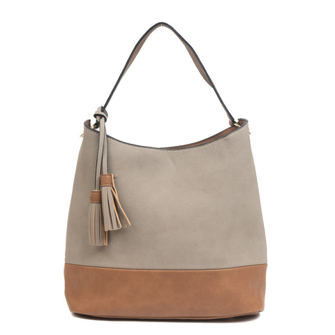Two Tone Hobo Handbag - Light Stone