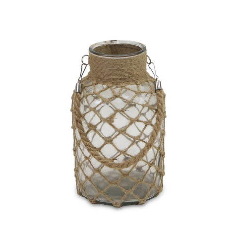 "7.5"" Glass Jar with Woven Rope"