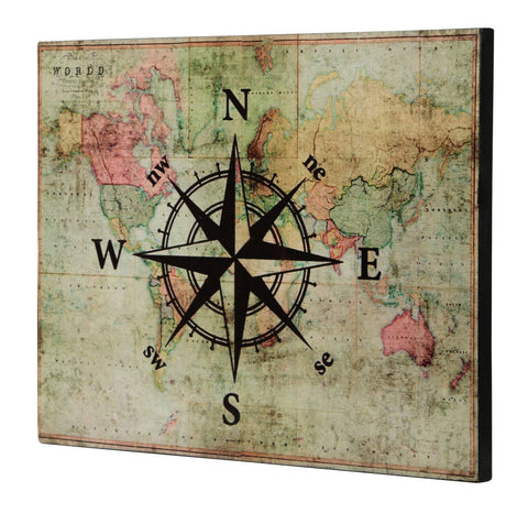 Map with Compass Wall Decor