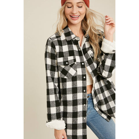 Buffalo Plaid Sherpa-Lined Jacket