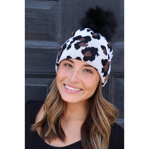 Animal Print Winter Hat with Black Pom Pom