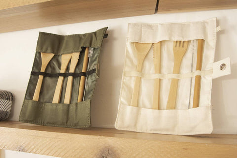 Utensil Wrap Set - Canvas and Bamboo