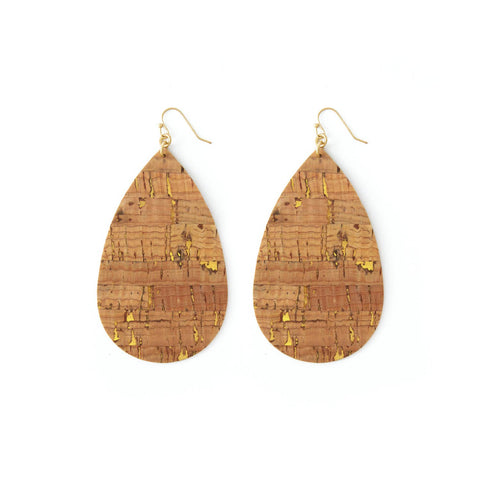 Cork Teardrop with Gold Accent Earrings