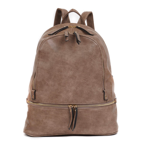 Triple Zip Pocket Backpack - Clay