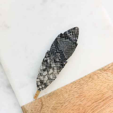 Snakeskin Print Feather Hair Clip