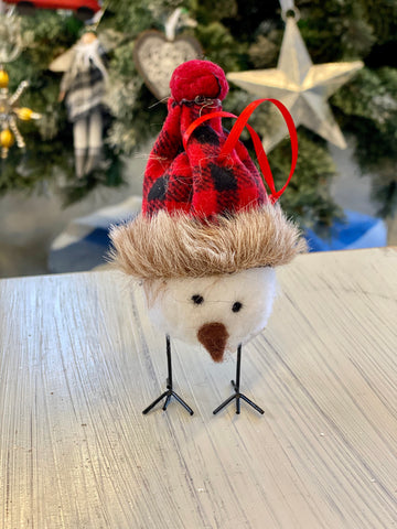 Baby Bird with Buffalo Check Hat Ornament