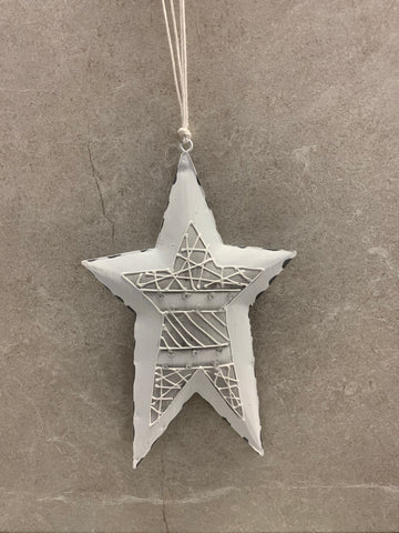White and Gray Metal Star Ornament