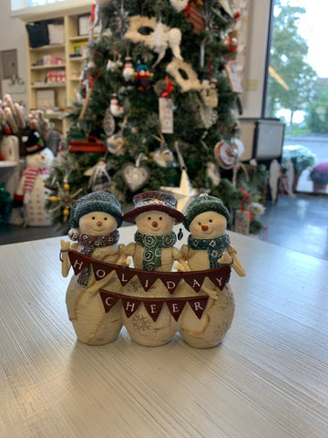 Resin Snowmen Holding Holiday Cheer Banner