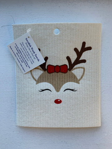 Holiday Reindeer Wash Towel