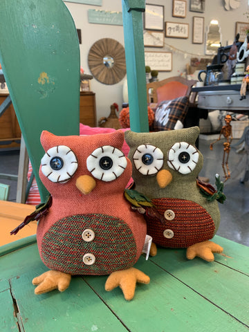 Sitting Plush Autumn Owl