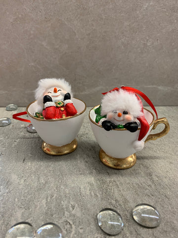 Snowman in a Teacup Ornament