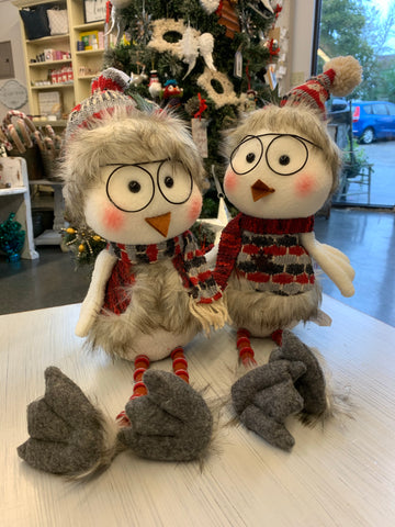 Plush Holiday Owl with Hanging Legs