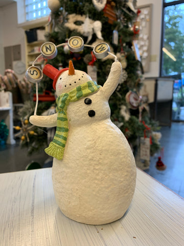 Resin Snowman Holding Snow Sign