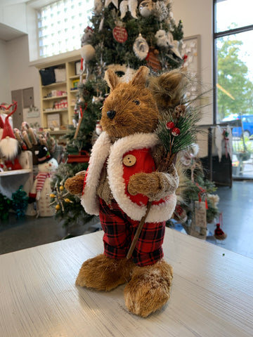 Straw Christmas Squirrel Standing Figurine