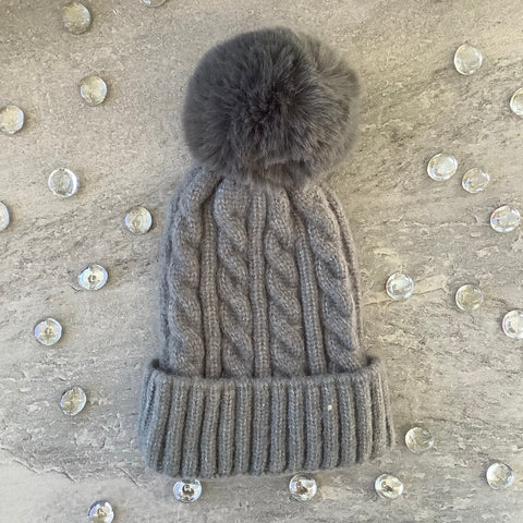 Gray Hat with Pom Pom