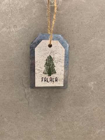 Falala Galvanized Metal and Wood Ornament/Gift Tag
