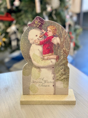 A Joyous Winter Season Wood Sitting Plaque