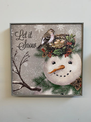 Let it Snow Snowman Hanging Wood Sign
