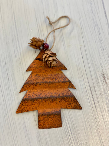 Rusted Tree with Pinecone Ornament