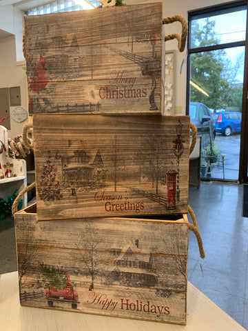 Holiday Message Wood Planter/Gift Box