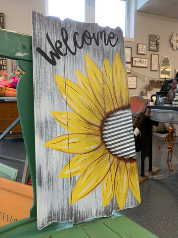 Sunflower Welcome Wood Hanging Sign