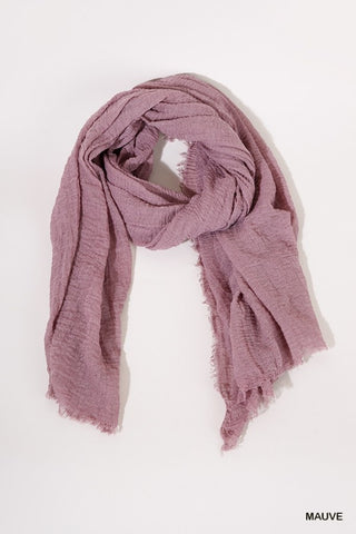 Lightweight Scarf with Frayed Edges - Mauve