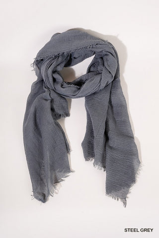 Lightweight Scarf with Frayed Edges - Steel Gray