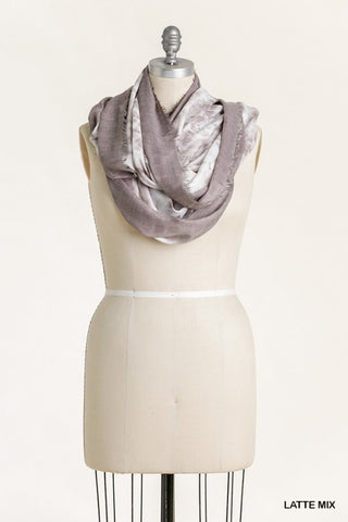 Tie Dye Scarf with Frayed Edges - Latte Mix