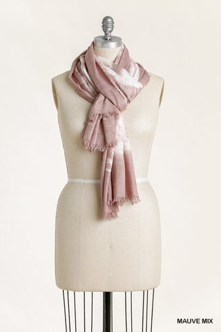 Tie Dye Scarf with Frayed Edges - Mauve Mix