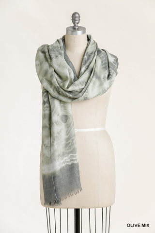 Tie Dye Scarf with Frayed Edges - Olive Mix
