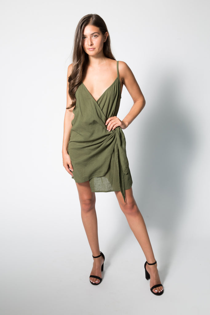 KARA WRAP DRESS IN PLAIN KHAKI