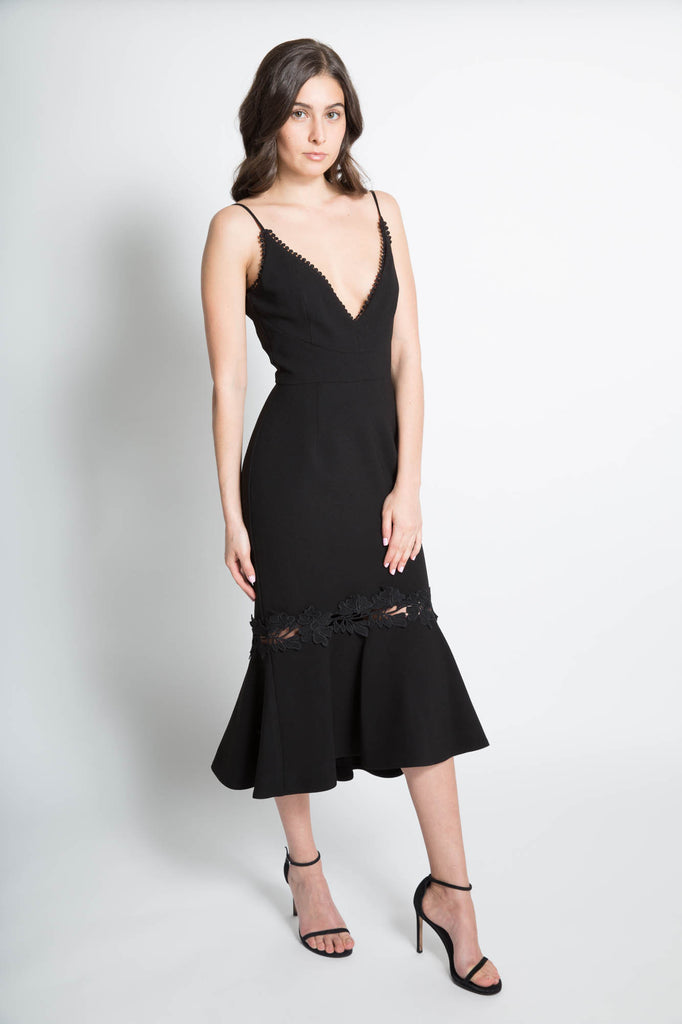 Crepe Fitted Panel Dress in Black
