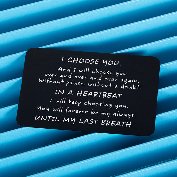 Couples Gifts Wallet Card Insert Valentines Anniversary Card Gifts for Husband I Choose You Gifts for Husband from Wife Groom's Gifts for Men Romantic Gifts for Him Fathers Day