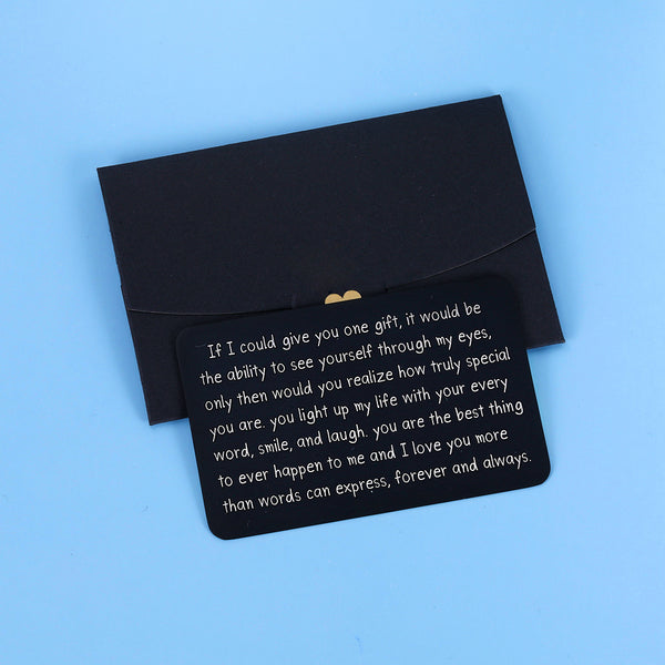 Wallet Insert Card Black Christmas Valentine Gifts for Him Her Men Husband Birthday from Wife Girlfriend Boyfriend Anniversary Gifts Wedding Engagement Gifts for Groom Fiance Stocking Stuffer