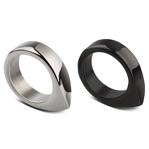 Handmade Stainless Steel Self Defense Survival Tool EDC Ring (Silver+Black)-SR11