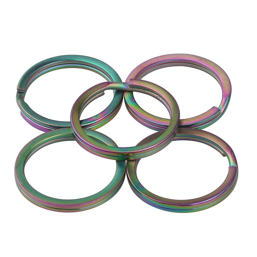 TI-EDC® 5PCS Titanium Rainbow Color Keychain Key Ring Split Ring