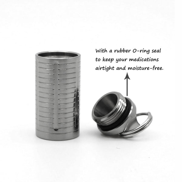 TI-EDC Titanium Mini Pill Fob - Emergency Aspirin & Small Pill Holder, Keychain Pill Reminder