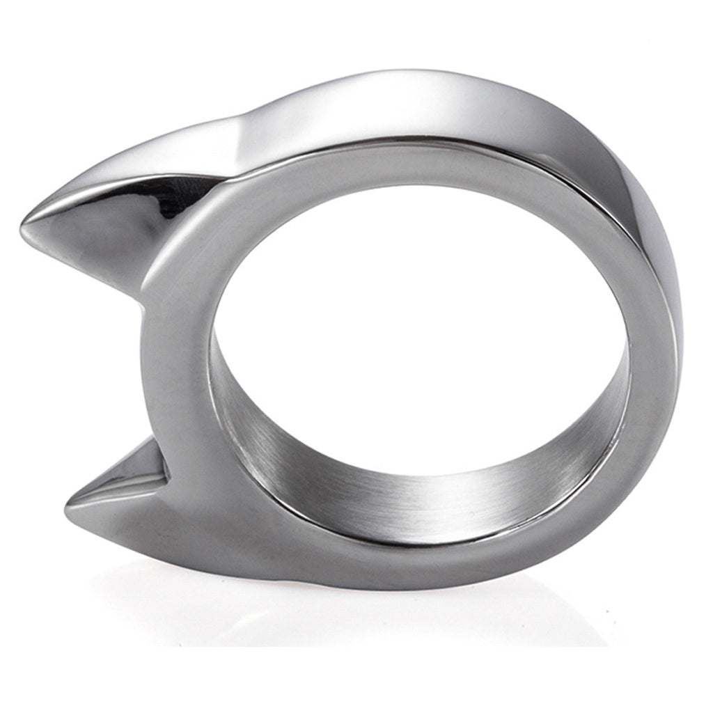 Handmade Stainless Steel Self Defense Survival Tool EDC Ring (silver)-SR13