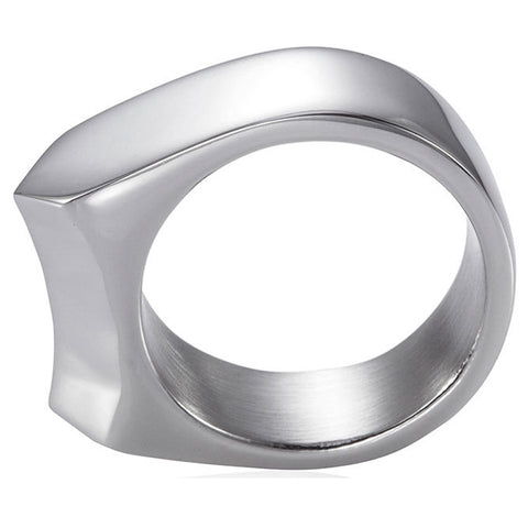Handmade Stainless Steel Self Defense Survival Tool EDC Ring (silver)-SR19