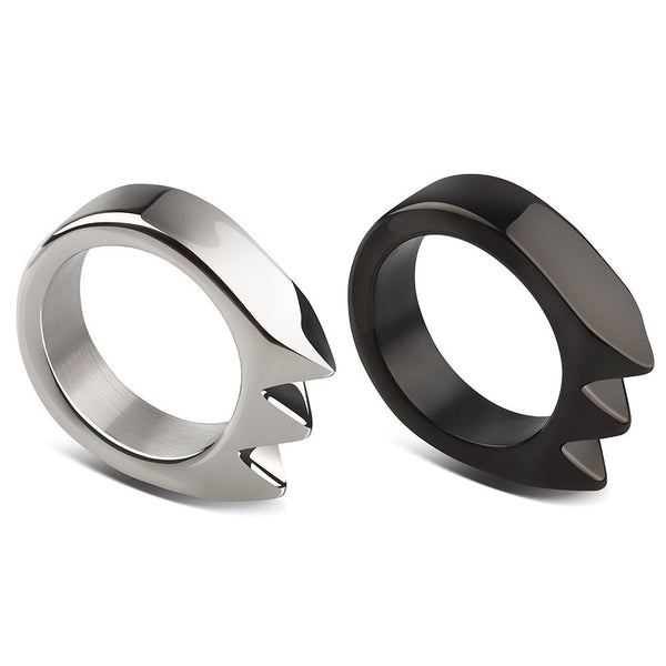 Handmade Stainless Steel Pocket Keychain Ring Coldplay Tools (Pack of 2)-SR17 (Silver+Black)