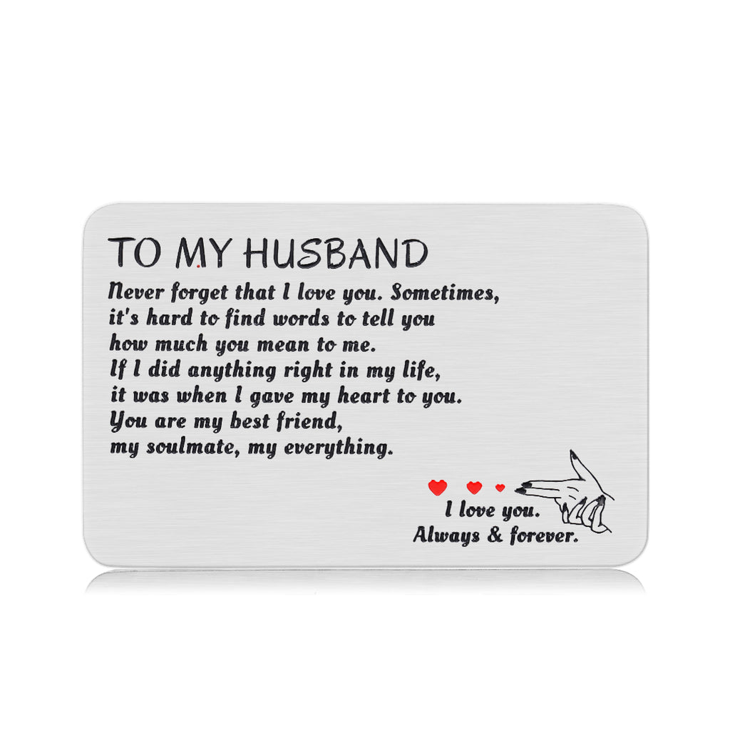 Husband Valentines Day I Love You Gifts Engraved Wallet Card Insert for Boyfriend Men Groom Fiance Christmas Anniversary Wedding for him Birthday Romantic Stocking Stuffers from Wife Girlfriend
