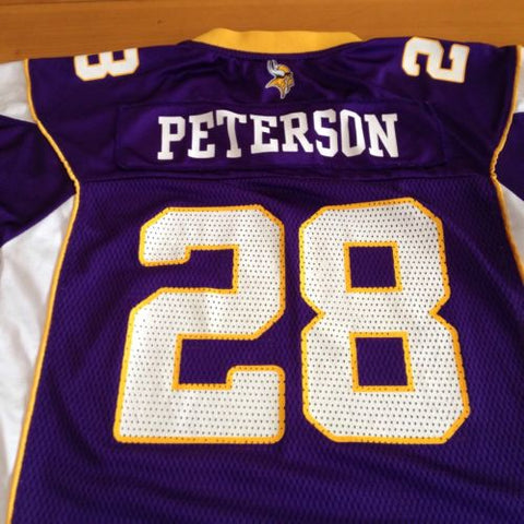 best sneakers b65b1 a51df Adrian Peterson #28 Reebok Onfield Purple Vikings Jersey Youth Size Large  14-16