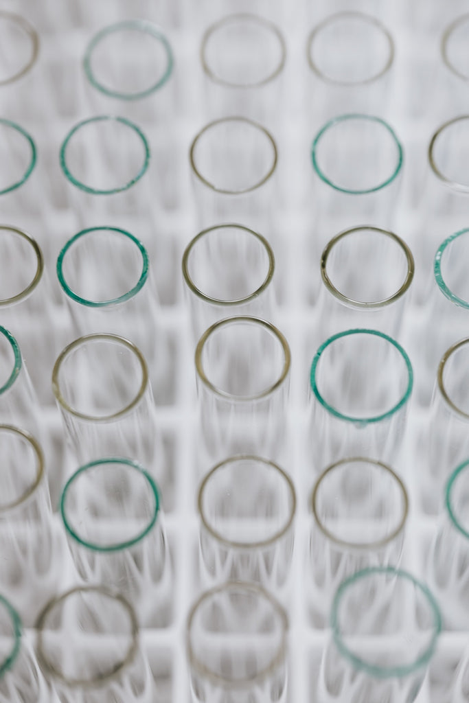 set of glass test tube arranged in rows