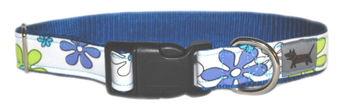 Blue Daisy Martini Dog Collar