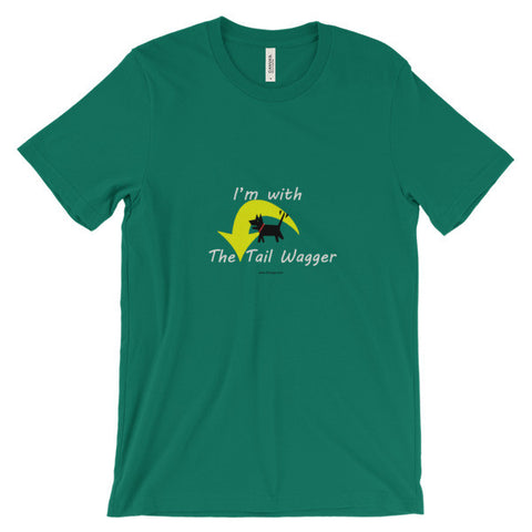 I'm with the Tail Wagger Unisex short sleeve t-shirt