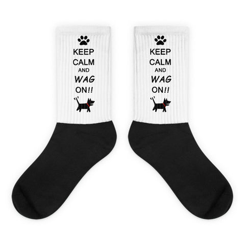 Keep Calm and Wag On!! Black foot socks