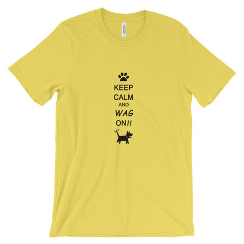Keep Calm and Wag On!! Unisex short sleeve t-shirt
